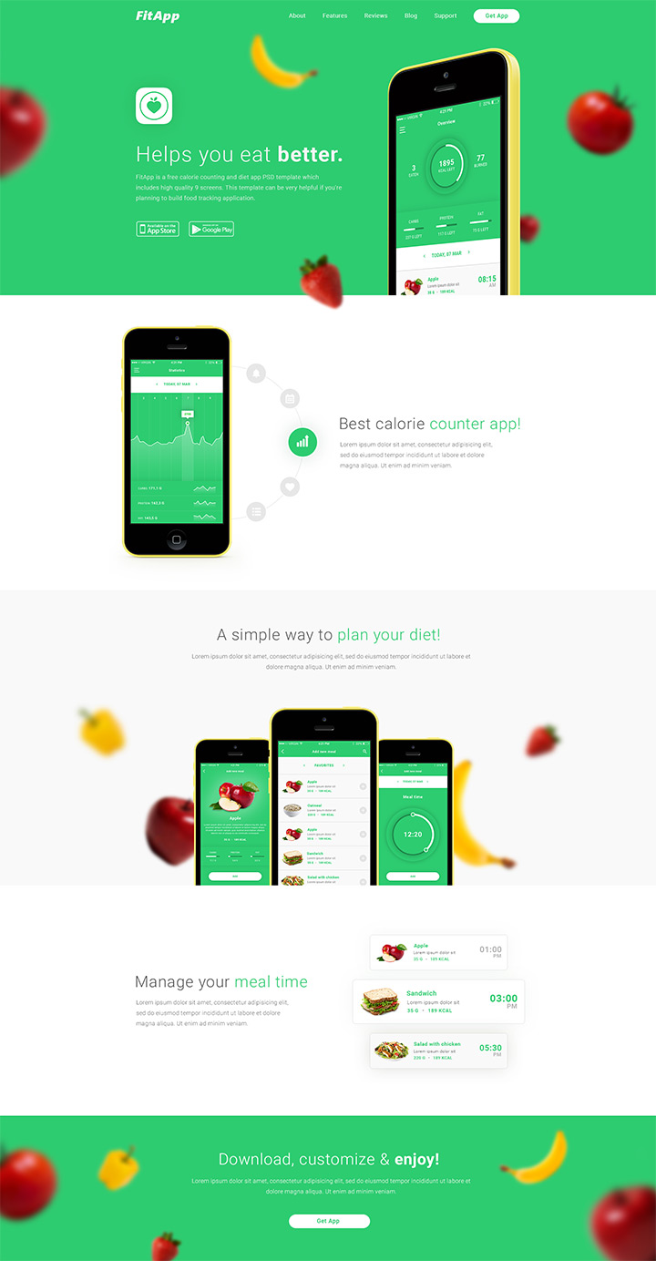 fitapp landing page mockup psd