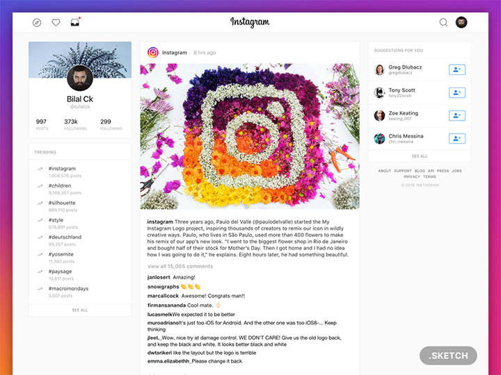 freebie instagram redesign ui homepage