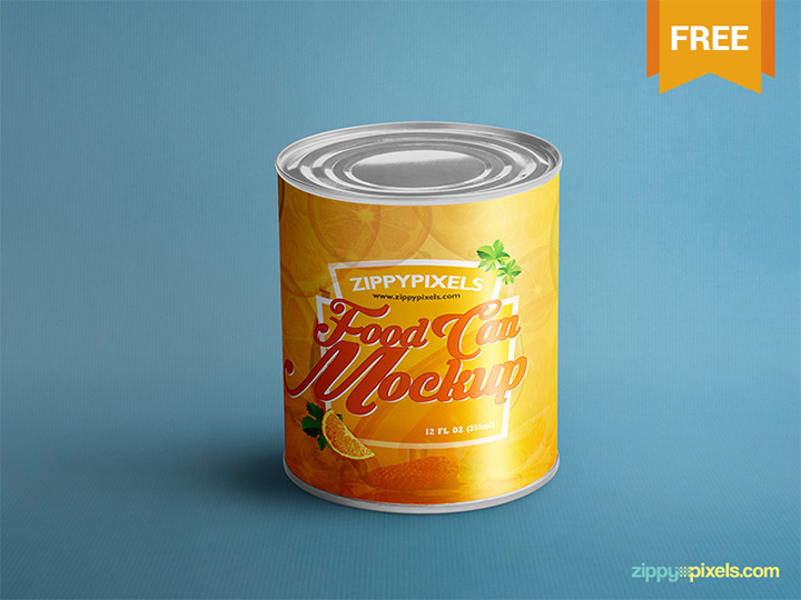 freebie food can mockup psd