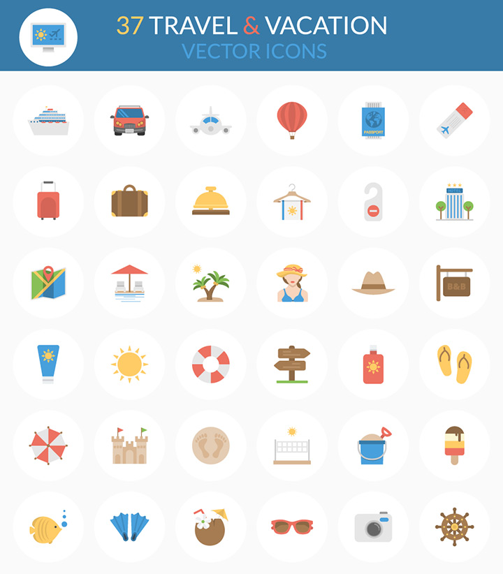 freebie travel vacation vector icons