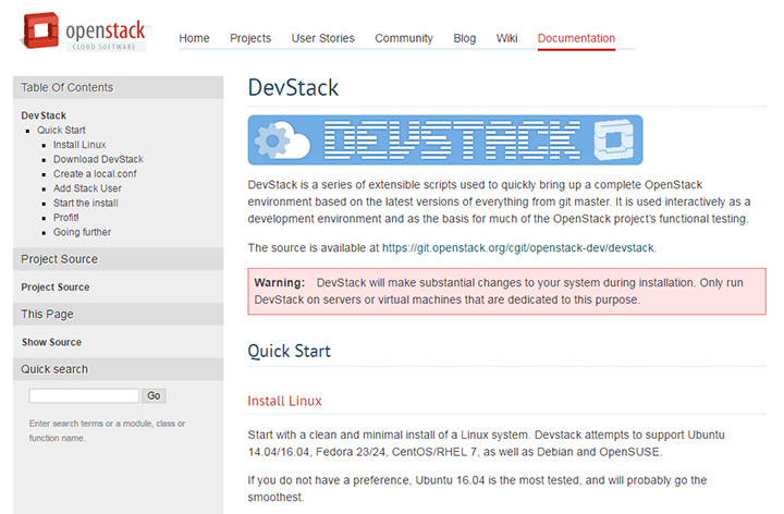 openstack devstack website