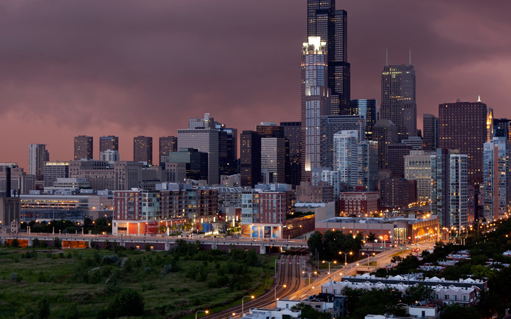 chicago dark skyline storm