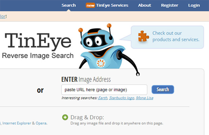 tineye reverse image search engine homepage
