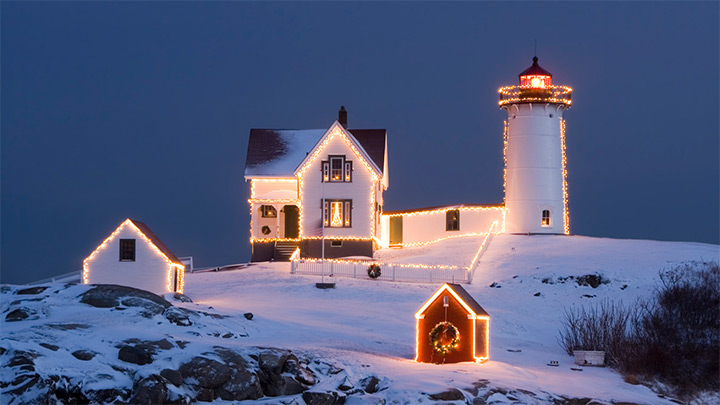 christmas lighthouse cape cod massachusetts