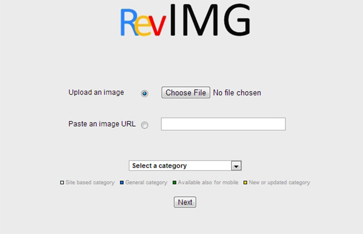 revimg reverse search engine homepage screenshot