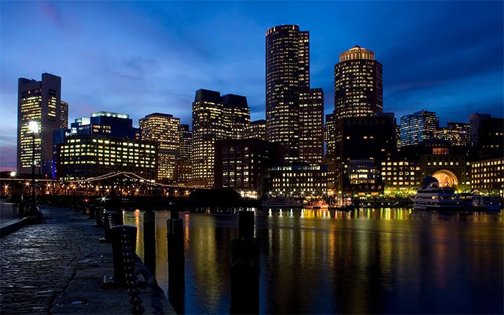 Boston Massachusetts Desktop Wallpaper Nighttime