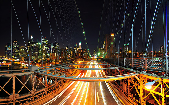 nyc rush hour traffic lights nighttime wallpaper