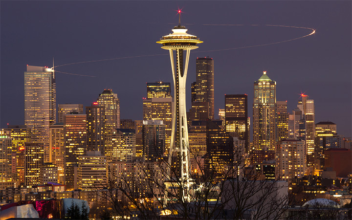 seattle washington skyline nighttime wallpaper