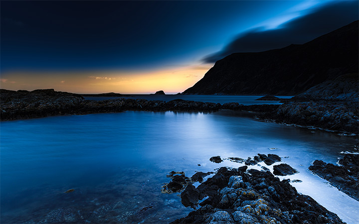 bremanger norway photo nighttime dark blue