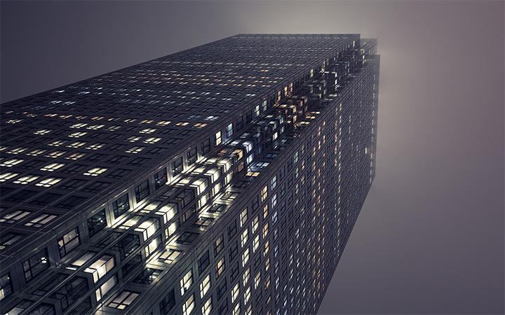 canary wharf london office building nighttime