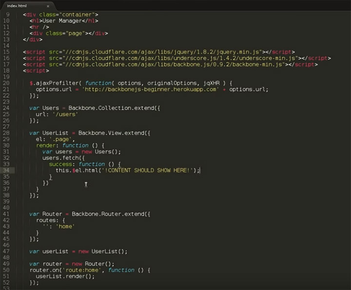 backbone js tutorial code screenshot
