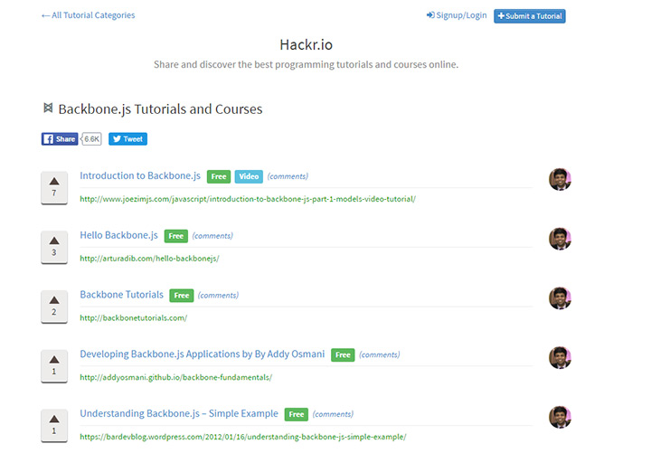 hackr io backbone curated tutorials