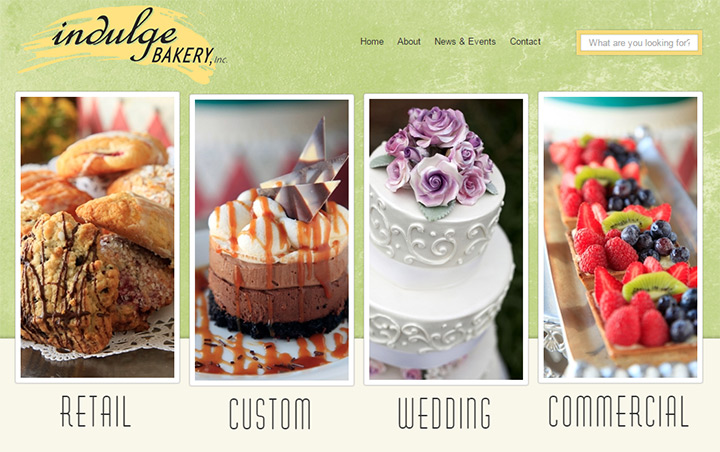 indulge bakery website