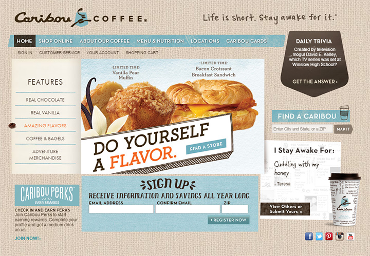 caribou coffee website