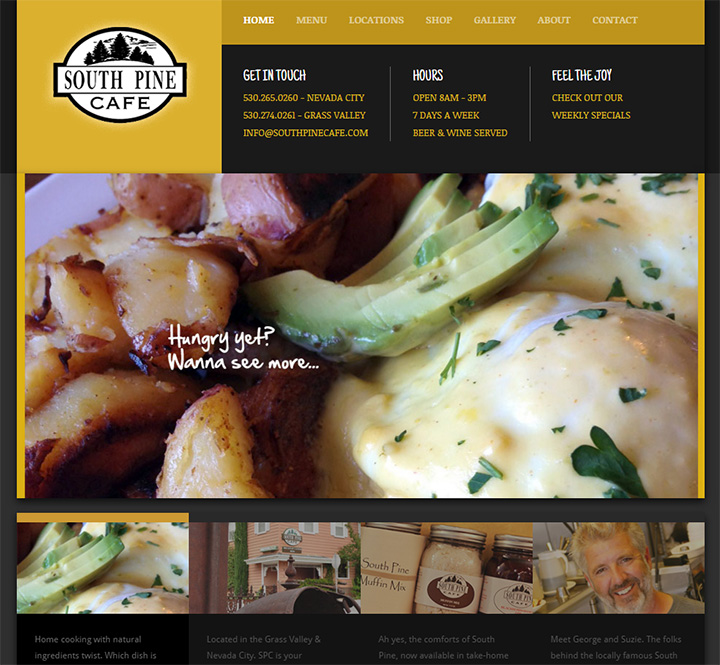 south pine cafe website