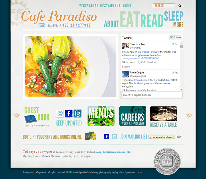 cafe paradiso website
