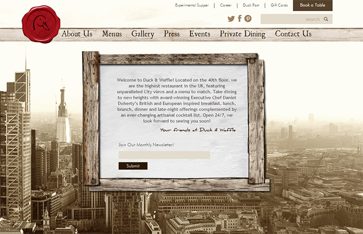 duck and waffle website