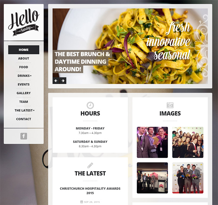 hello sunday cafe website
