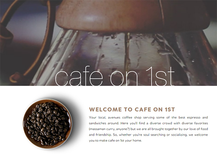 cafe on first website