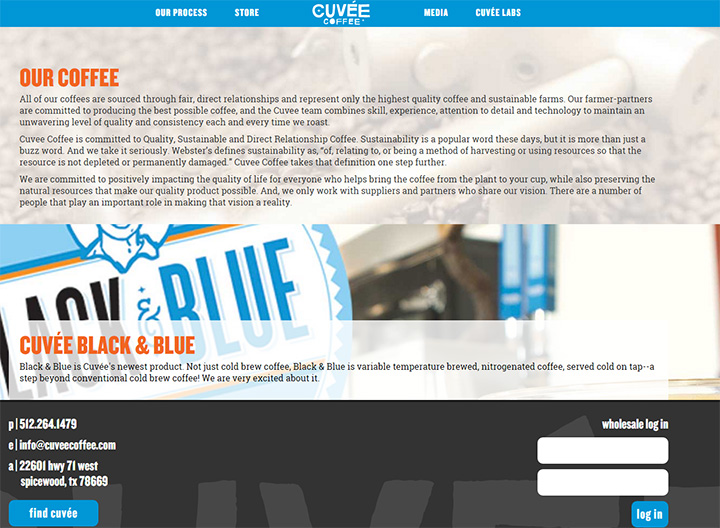 cuvee coffee website