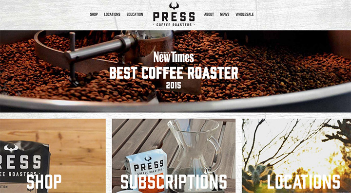 press coffee website