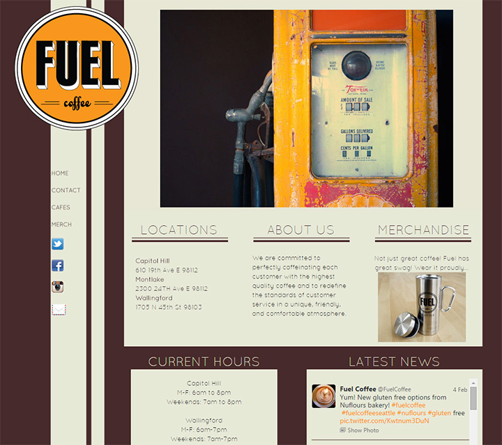 fuel coffee cafe website