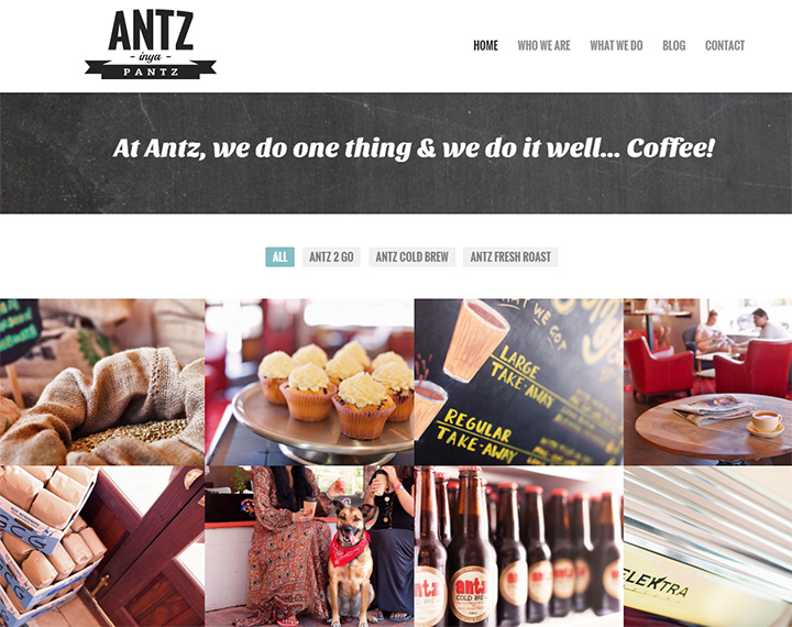 antz inya pantz coffee website