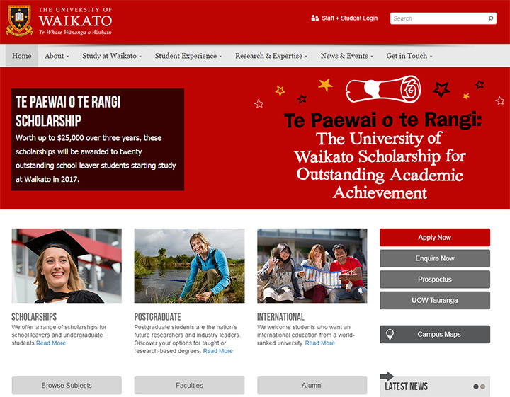 waikato uni website