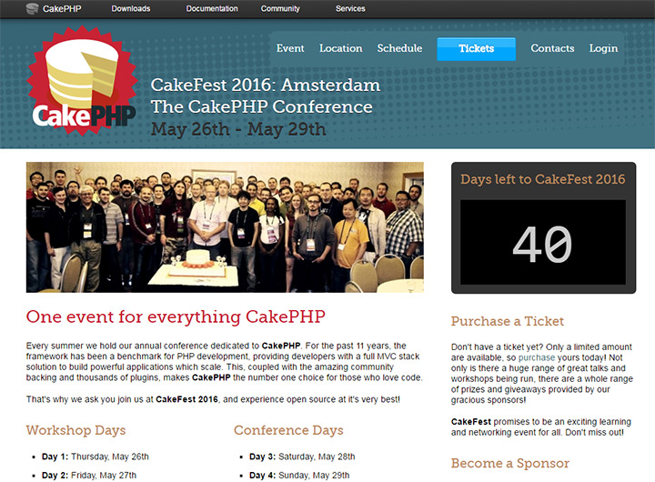 cakefest conference website homepage