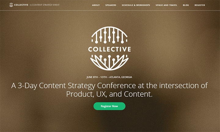 collective conference design homepage
