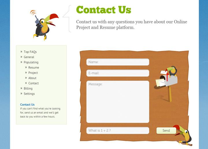 opresume webapp contact form