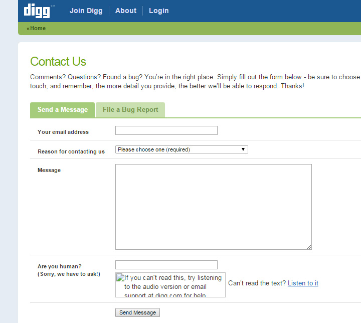 digg v3 contact page screenshot
