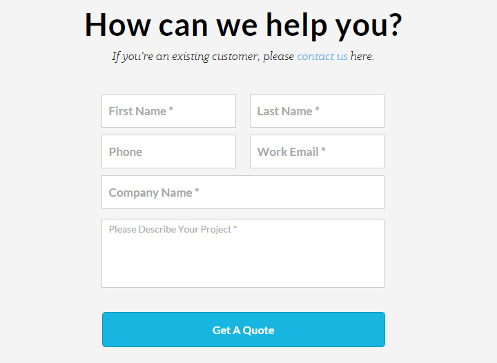 visually contact form page design