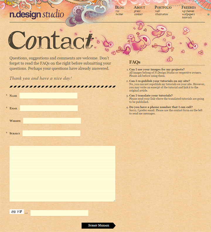 ndesign studio contact form