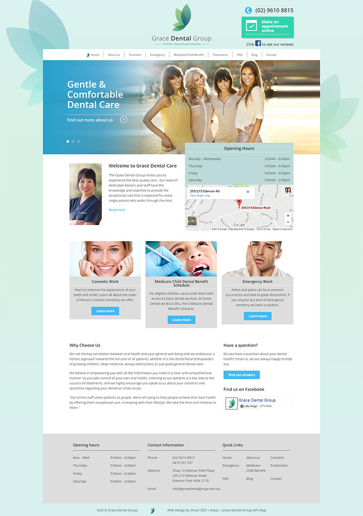 cosmetic dentist clinic website