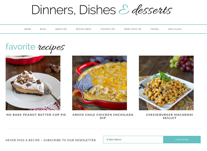 dinners dishes desserts