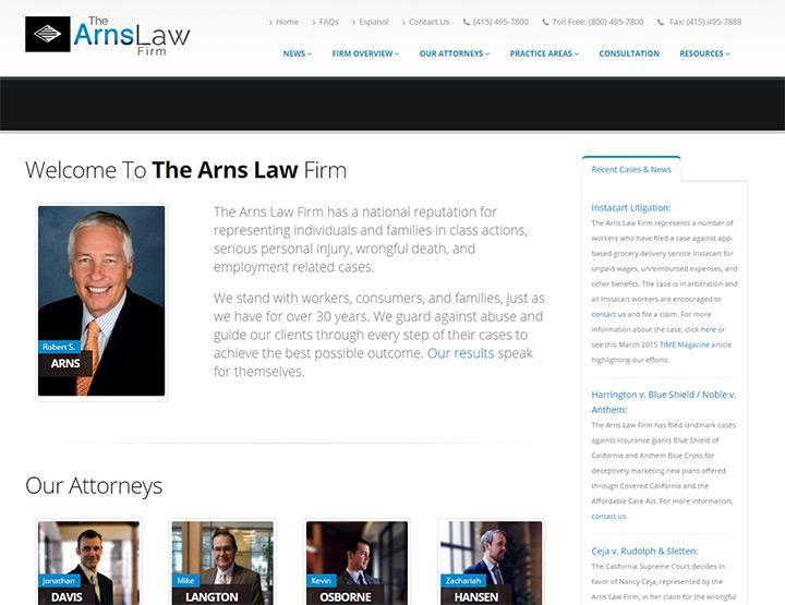 arns law firm website