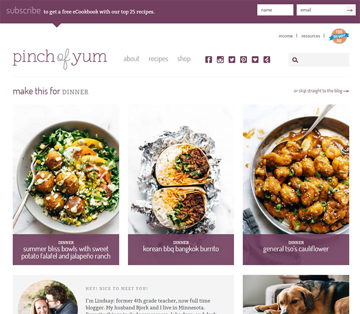 pinch of yum blog