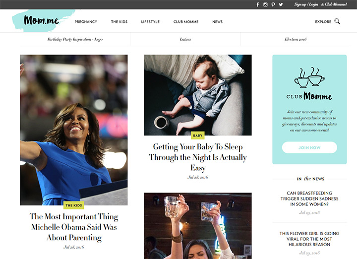 momme mom website layout