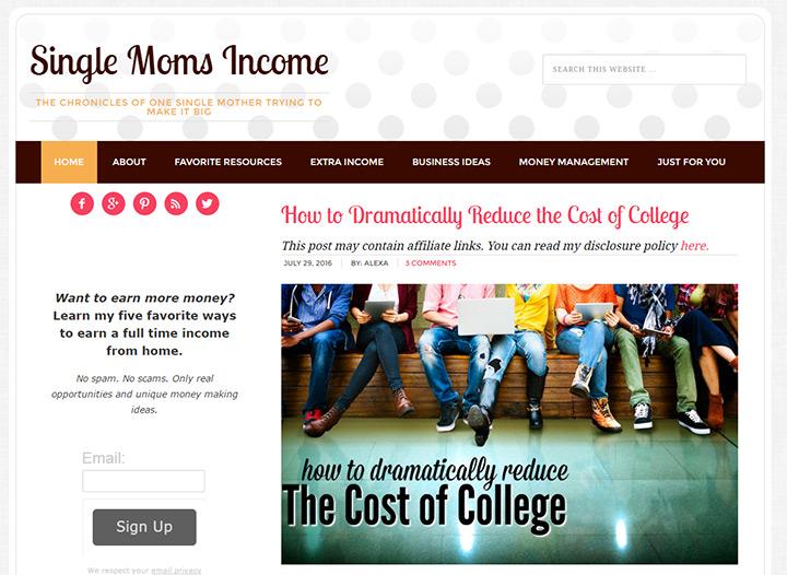 single moms income blog