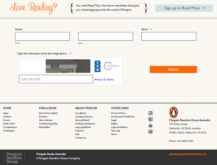 penguin publishing signup form