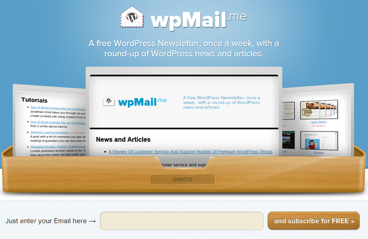wp mail signup wordpress