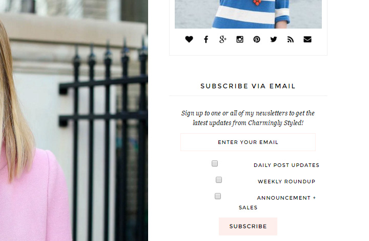 Charmingly Styled signup newsletter form