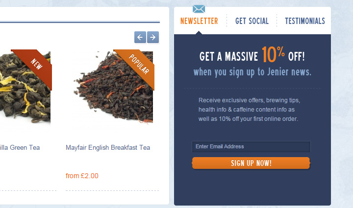 jenier teas signup newsletter form