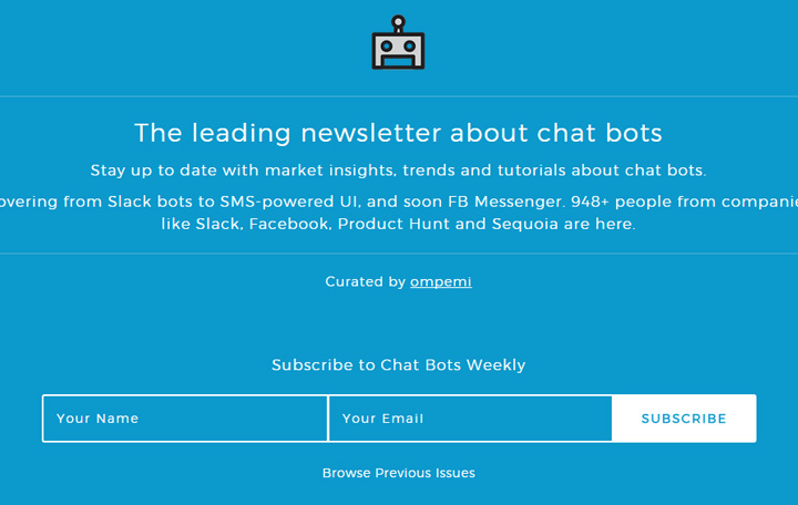 chatbot weekly newsletter form