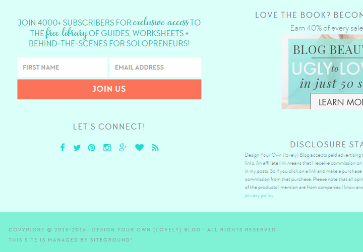 design your own blog signup