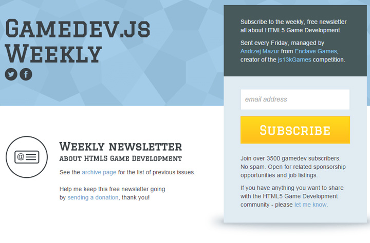 gamedev newsletter weekly form