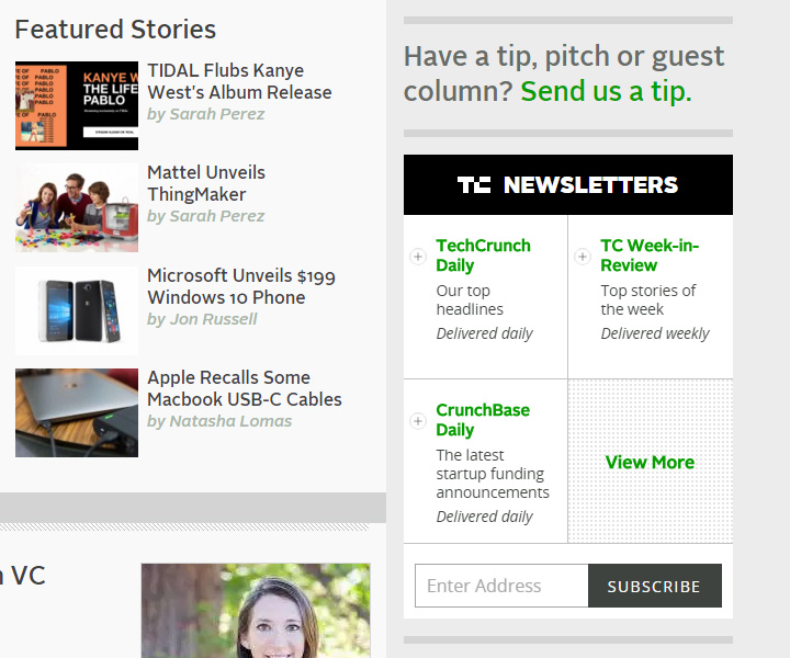 techcrunch newsletter sidebar signup
