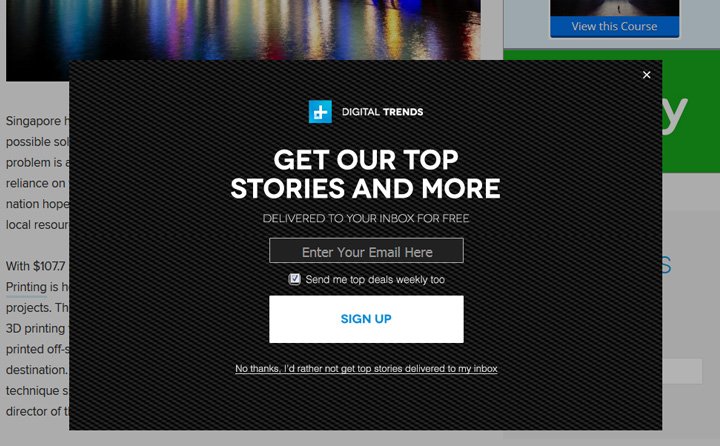 digital trends newsletter signup
