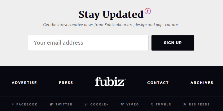 fubiz newsletter signup form design